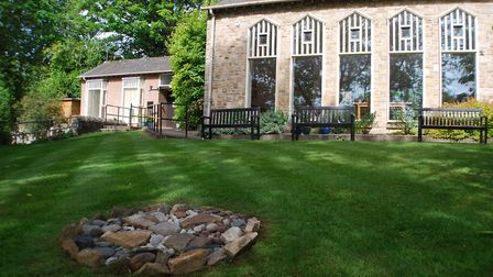 Whirlow Spirituality Centre Front Lawn and Cairn