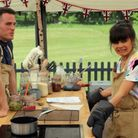 David and Steph Blackwell in the Bake Off tent - he loves this picture