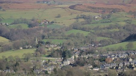 Looking over Hathersage towards Stanage Edge by Sally Mosley