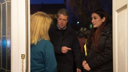 (right) Liberal Democrat's candidate for Finchley and Golders Green, Luciana Berger and Hugh Grant c