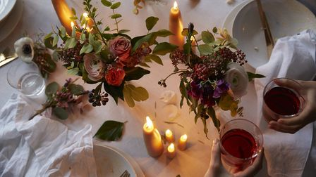 Berries add texture and richness to this table display