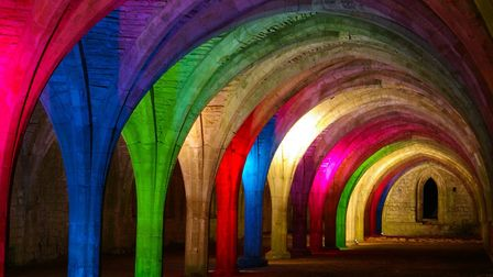Fountains abbey cellarium lit up for the Christmas display