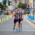 Yorkshire's famous Brownlee brothers at ITU World Triathlon Championships, Leeds. (c) Ian Wray / Alamy Stock Photo