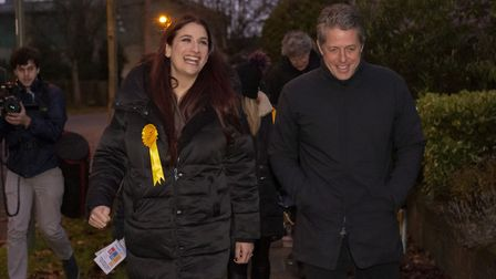 Hugh Grant canvassing in Finchley while on the General Election campaign trail. Photograph: David Mirzoeff/PA Wire.