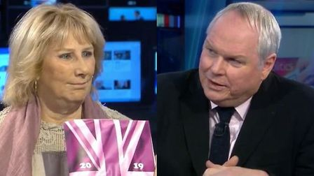 UKIP's interim leader Pat Mountain is interviewed by Adam Boulton on All Out Politics. Photograph: S