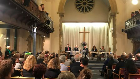 Foreign Secretary Dominic Raab (centre left) attends a hustings at East Molesey Methodist Church in