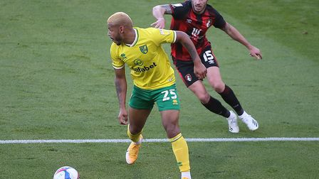 Norwich winger Onel Hernandez takes on Adam Smith at Bournemouth Picture: Paul Chesterton/Focus Imag