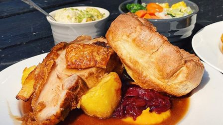 Roast loin of pork with crackling Sunday roast from Too Fat Roasties at The Reindeer in Norwich Pict