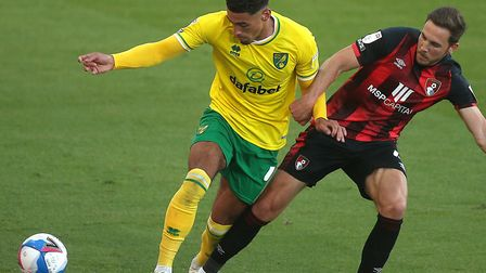 Ben Godfrey in action during Norwich City's 1-0 Championship loss at Bournemouth on Saturday Pictur