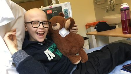 Kieran Dickerson during his treatment for a rare form of non-Hodgkin's Lymphoma in Addenbrooke's Hos