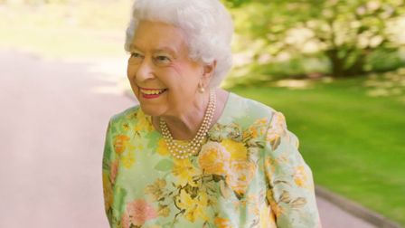 Her Majesty the Queen in the gardens of Buckingham Palace