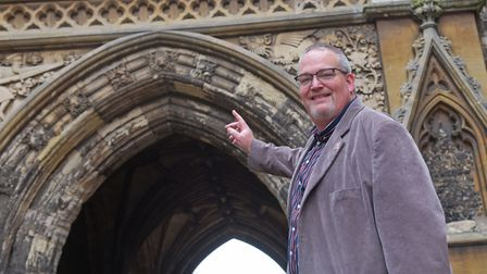 History Mystery managing director Alasdair Willett by one of the clues in the Revolting Earls and Bo