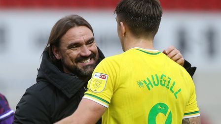 Smiles all round as City boss Daniel Farke shares a moment with match winner Hugill after the final
