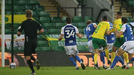 Mario Vrancic of Norwich scores what turns out to be the winning goal against Birmingham during the