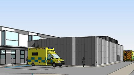 An artist's impression of the expanded emergency department at the James Paget University Hospital (