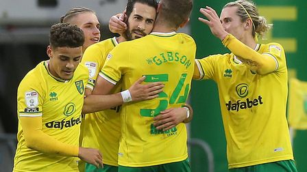 Mario Vrancic of Norwich celebrates scoring his sides 2nd goal from a free kick during the Sky Bet C