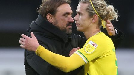 Norwich Head Coach Daniel Farke and Todd Cantwell of Norwich at the end of the Sky Bet Championship