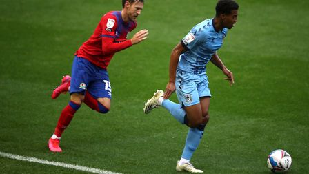 Sam McCallum in action for Coventry City during their 4-0 defeat to Blackburn Rovers on Saturday. Pi