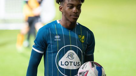 Tyrese Omotoye of Norwich City U21 with the match-ball after scoring a hat-trick in the EFL Trophy a
