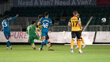 Tyrese Omotoye opened the scoring for Norwich in just the second minute at Rodney Parade Picture: F