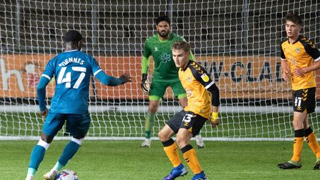 Matthew Dennis lines up his spectacular strike which put Norwich U21s 4-0 up at Newport Picture: Fo