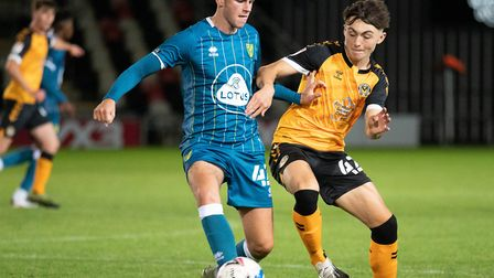 Reece McAlear in midfield action for Norwich City U21s at Newport Picture: Focus Images