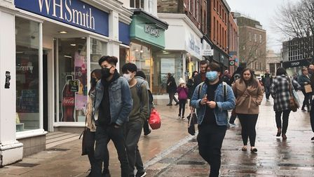 People in Norwich wear masks whilst shopping amid coronavirus concerns. Picture: Victoria Pertusa