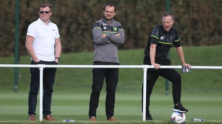 Norwich City loans boss Neil Adams, right, with sporting director Stuart Webber Picture: Paul Chest
