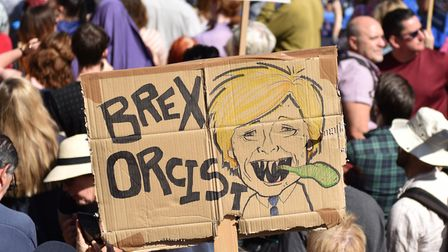 """A protester holds a placard of Boris Johnson with the words """"Brex Orcist"""" outside Downing Street. (Photo by John..."""