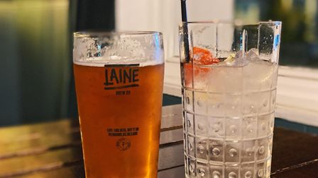 A pint of Mangolicious from The Laine Brewery and Whitley Neill pink cherry gin with tonic at The St
