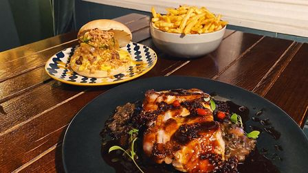 Pork loin, chargrilled beef burger and togarashi fries from Danomey Kitchen Picture: James Randle
