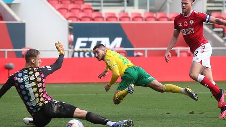 Emi Buendia fired Norwich 3-1 ahead just before half-time at Ashton Gate Picture: Paul Chesterton/F