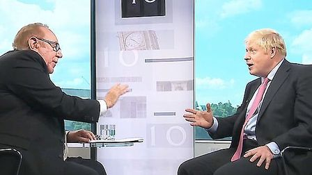 Boris Johnson is interviewed by Andrew Neil. Photograph: BBC.