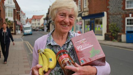 Campaigner Brenda Smith with some of the produce on sale in shops at Sheringham, which has Fairtrade