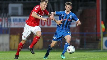 Enes Mahmutovic of Middlesbrough and Daniel Adshead of Rochdale in action during the Pre-season Frie