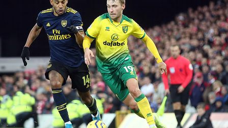 Tom Trybull in action during Norwich City's 2-2 home draw with Arsenal in the Premier League last se