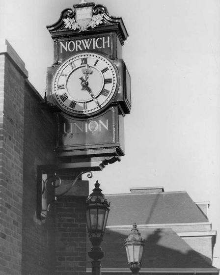 The Norwich Union/Aviva clock on Surrey Street in 1963. Picture: Archant Library
