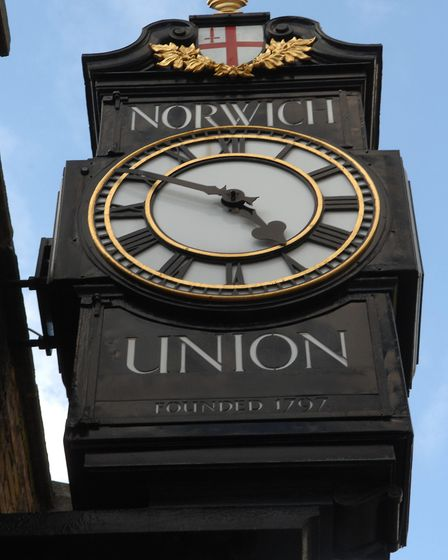 The Norwich Union clock in Surrey Street. entrance and sign. Photo: Denise Bradley