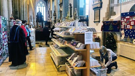 The shop is located in the corner of St Peter Mancroft Church in Norwich, opposite The Forum Picture