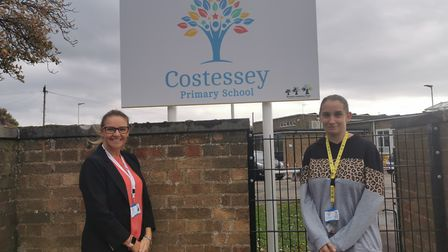 Emma Waller and Kristina Harris will be walking 33 miles to raise money for the Adcock family. Pictu