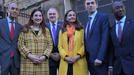 Liberal Democrat politicians (from left to right) Chuka Umunna, Luciana Berger, Ed Davey, Siobhan Be