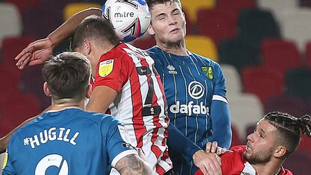 Jacob Sorensen in aerial battle for Norwich at Brentford Picture: Paul Chesterton/Focus Images