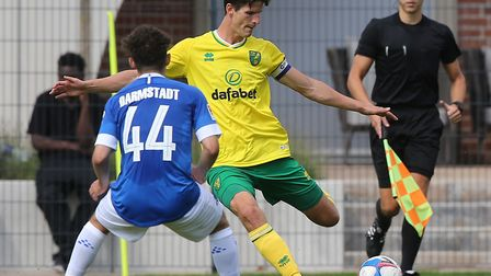 Timm Klose in pre-season action for Norwch City prior to his move to Basel Picture: Paul Chesterton