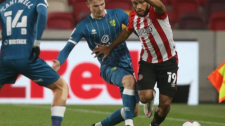 Jacob Sorensen made his Norwich City debut during the draw at Brentford on Tuesday Picture: Paul Che