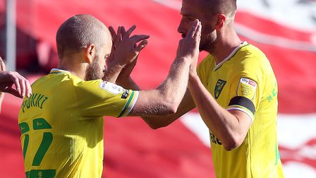 Teemu Pukki and Marco Stiepermann combined to give Norwich City the lead at Ashton Gate. Picture: P