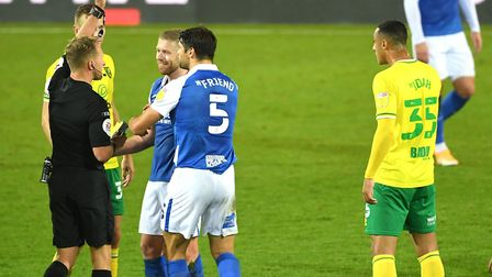 Adam Clayton's red card was a decisive moment in the match. Picture: Joe Giddens/PA Wire