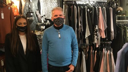 David Cox, owner of Butterfly Boutique in Norwich, with sales assistant Megan Mayhew. Picture: Sophi