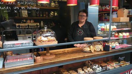 Kim Cooper, joint owner of The Cuppie Hut on Norwich Market. Picture: Sophie Wyllie