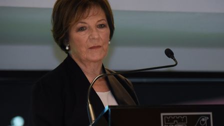 Norwich City's joint majority shareholder, Delia Smith, speaking at Carrow Road recently Picture: DE