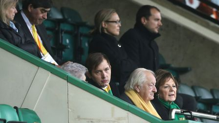 Norwich City's joint majority shareholders, front, Delia Smith, right, and Michael Wynn Jones Pictur